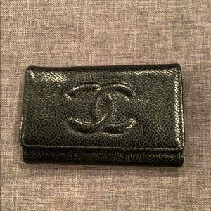 100% authentic Chanel caviar key case